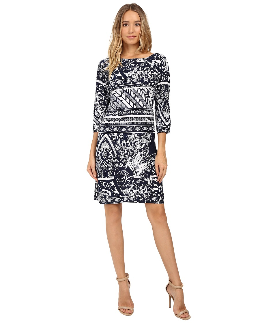 Christin Michaels Zula Long Sleeve Shift Dress (Navy/Whit...