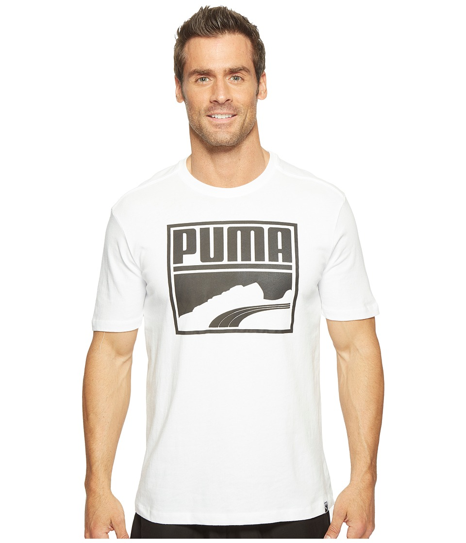 PUMA Contrast Suede Tee (Puma White/Black) Men