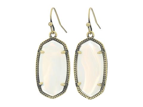 Kendra Scott Dani Earrings - Antique Brass/White Banded Agate