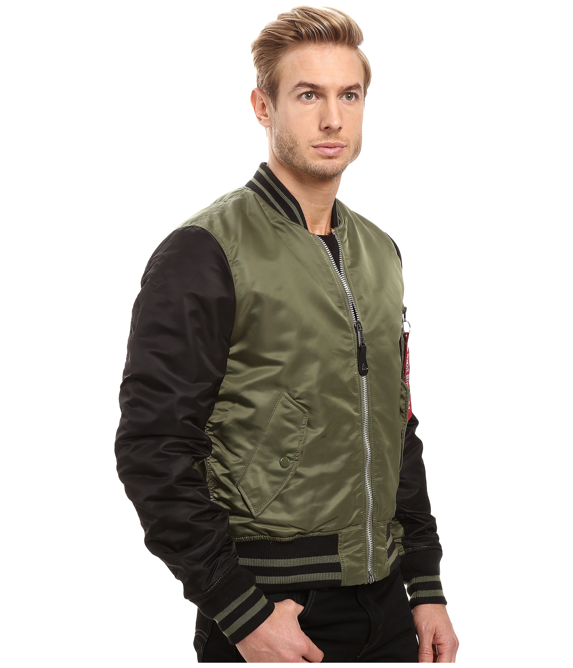 alpha industries ma 1 varsity flight jacket at. Black Bedroom Furniture Sets. Home Design Ideas