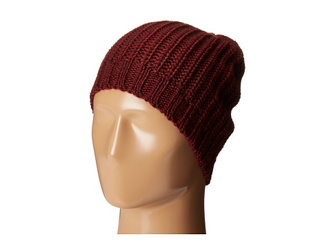 San Diego Hat Company KNH3429 Solid Knit Rib Beanie with Ribbed Opening - Burgundy