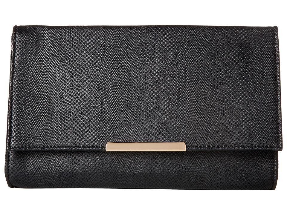 Jessica McClintock - Nora Straw Clutch (Black) Clutch Handbags
