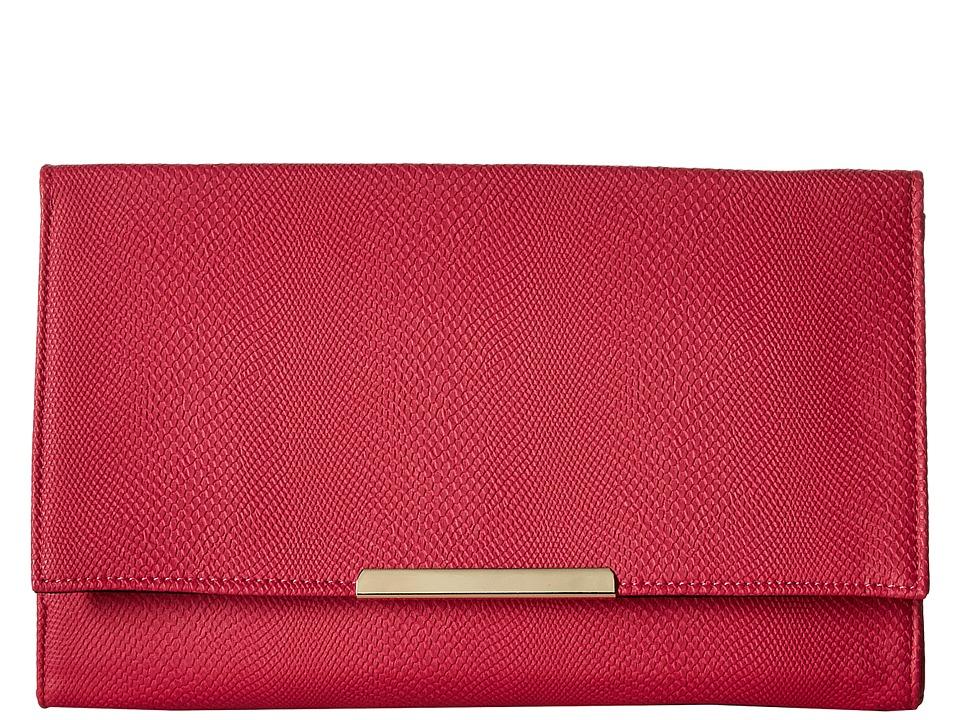 Jessica McClintock - Nora Straw Clutch (Raspberry) Clutch Handbags