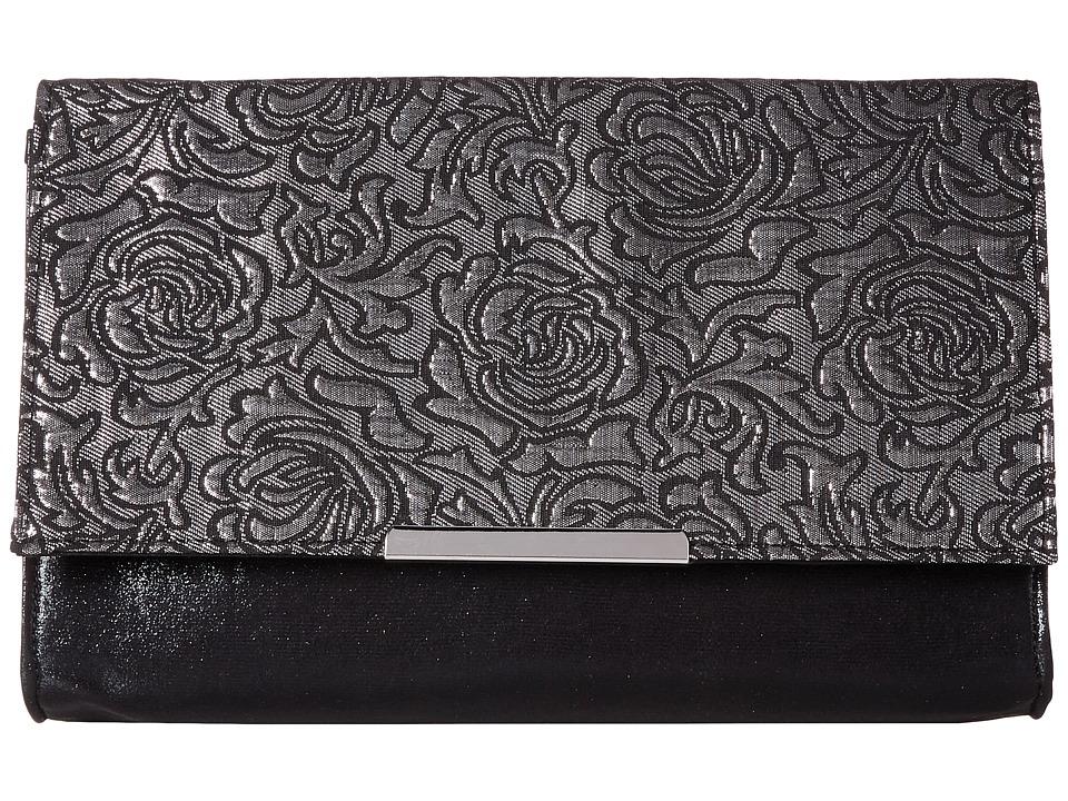 Jessica McClintock - Nora Floral Envelope Clutch (Silver) Clutch Handbags