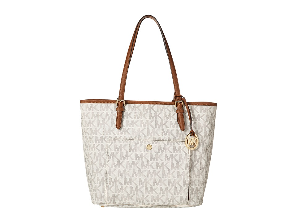 MICHAEL Michael Kors - Jet Set Item Large Snap Pocket Tote (Vanilla) Tote Handbags