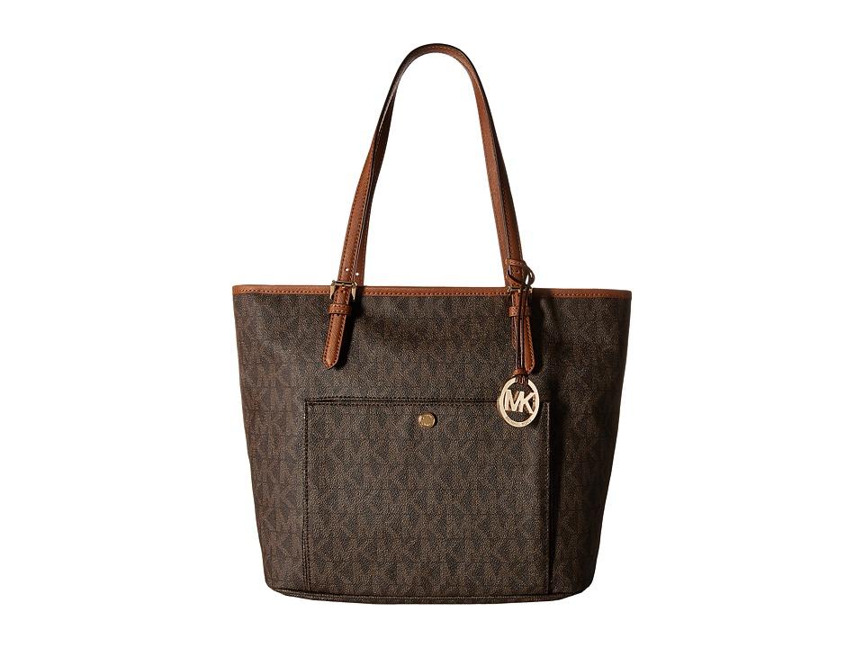 MICHAEL Michael Kors - Jet Set Item Large Snap Pocket Tote (Brown) Tote Handbags