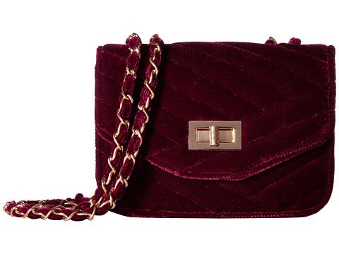 Jessica McClintock Elaine Velvet Shoulder Bag - Wine