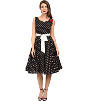 Unique Vintage - Dotted Swing Dress with Sash