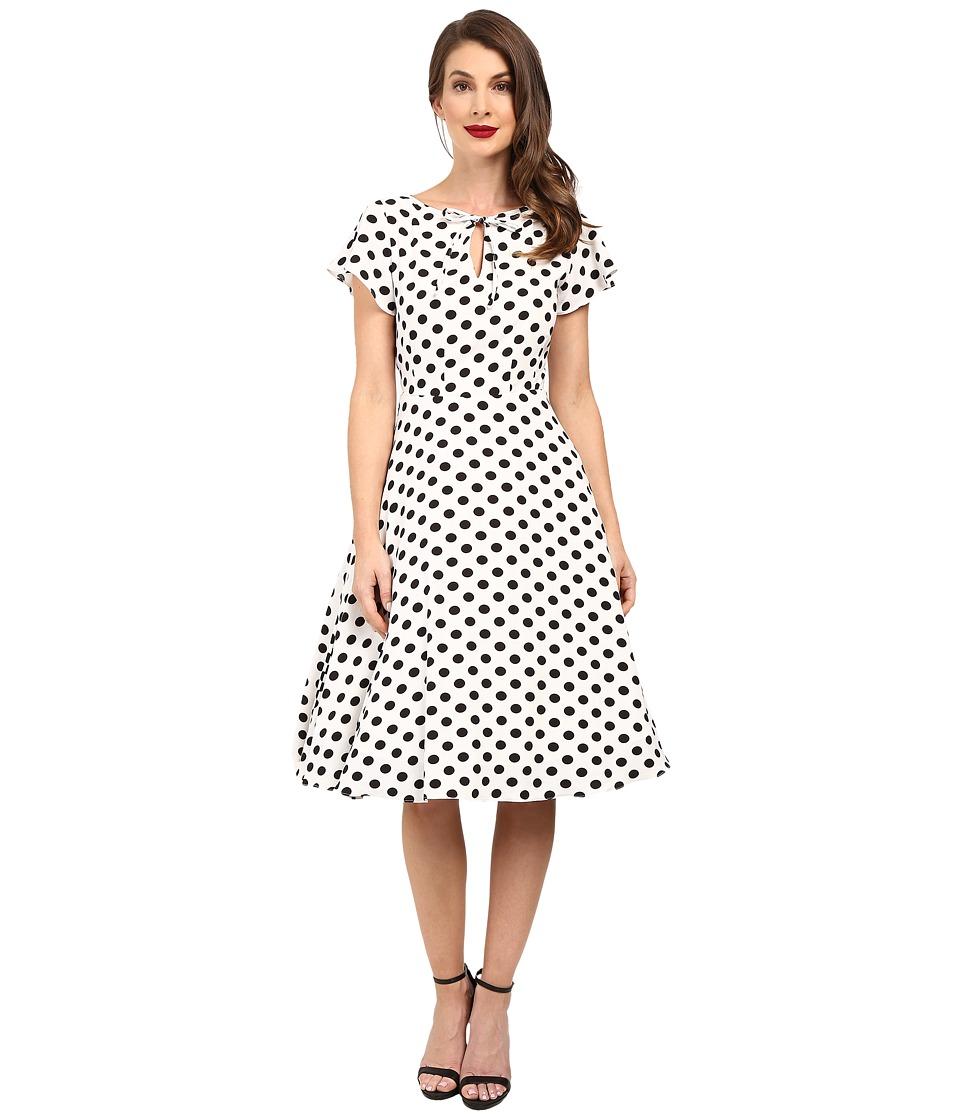 Unique Vintage Dotted Ruffle Sleeve Swing Dress (White/Black) Women