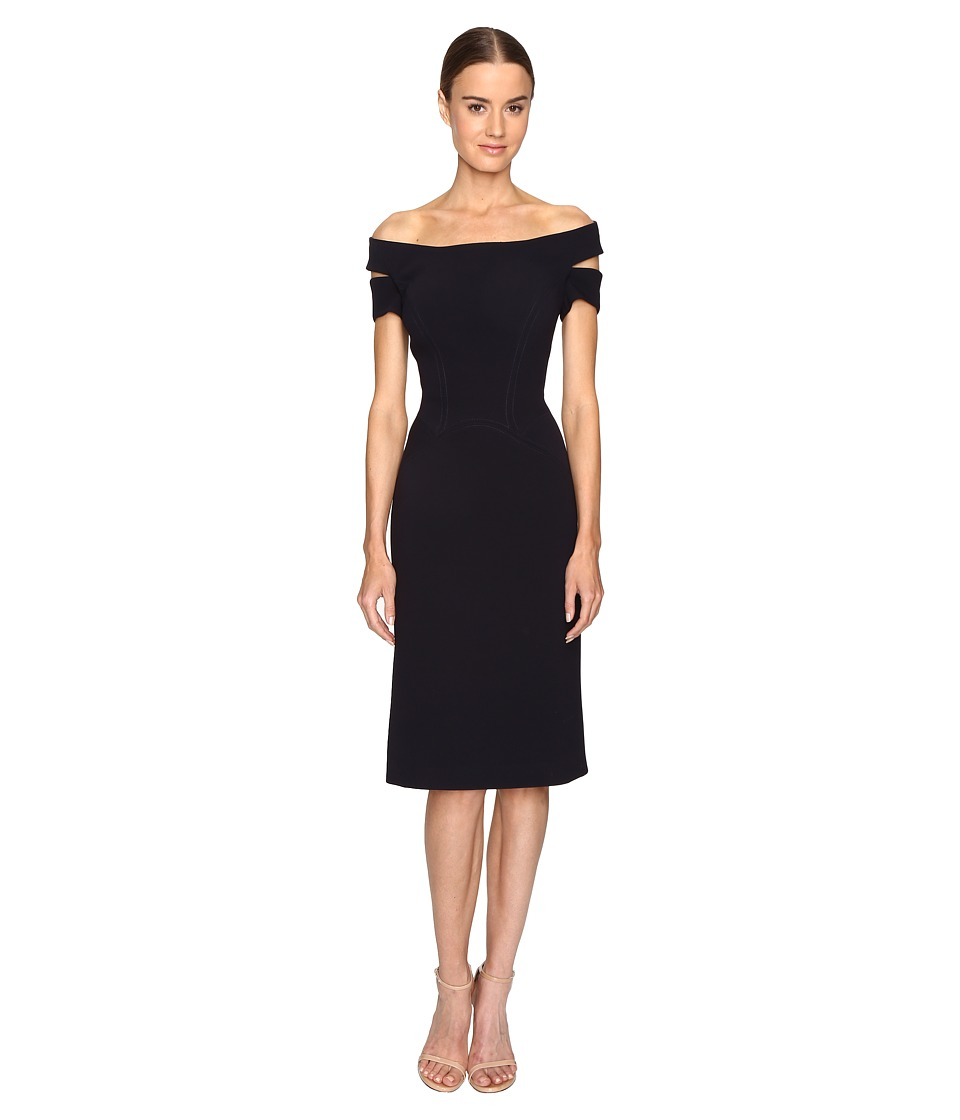 Zac Posen Bonded Crepe Corseted Cold Shoulder Dress (Midnight) Women
