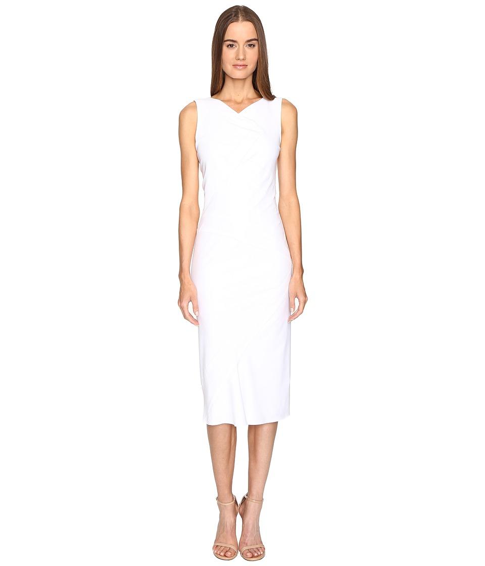 Zac Posen Stretch Cady Sleeveless Tea Length Dress (White) Women