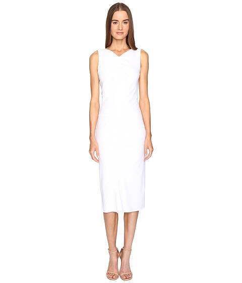 Zac Posen Stretch Cady Sleeveless Tea Length Dress - White