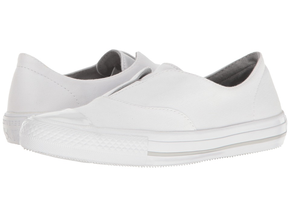 Converse - Chuck Taylor(r) All Star(r) Gemma Craft Twill Slip-On (White/White/Mouse) Womens Shoes
