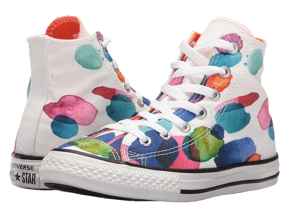 Converse Kids Chuck Taylor All Star Hi (Little Kid/Big Kid) (White/Wild Mango/White) Girl