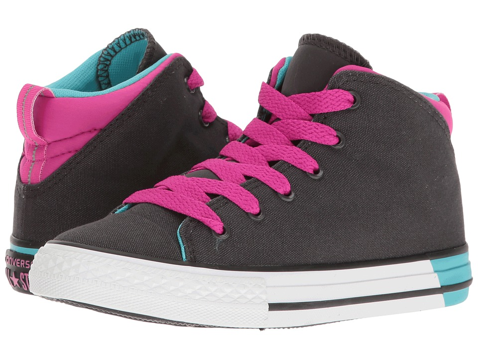 Converse Kids Chuck Taylor All Star Official Mid (Little Kid/Big Kid) (Almost Black/Magenta Glow/White) Girl