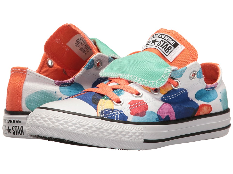 Converse Kids Chuck Taylor All Star Double Tongue Ox (Little Kid/Big Kid) (White/Wild Mango/Green Glow) Girl