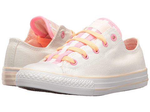 Converse Kids Chuck Taylor All Star Loopholes Ox (Little Kid/Big Kid) - White/Sunset Glow/White