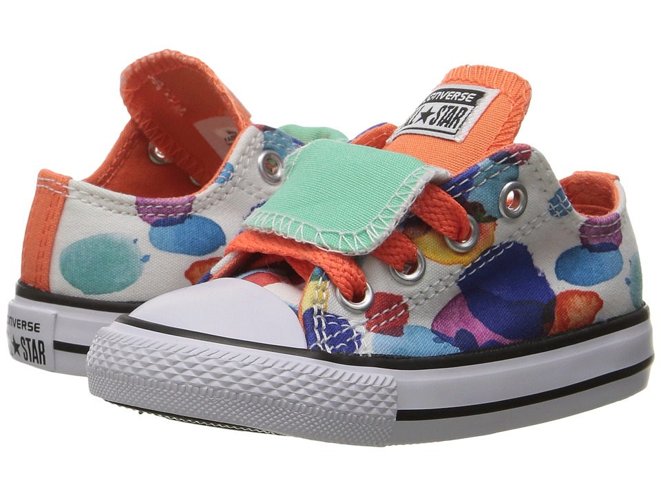 Converse Kids Chuck Taylor All Star Double Tongue Ox (Infant/Toddler) (White/Wild Mango/Green Glow) Girl
