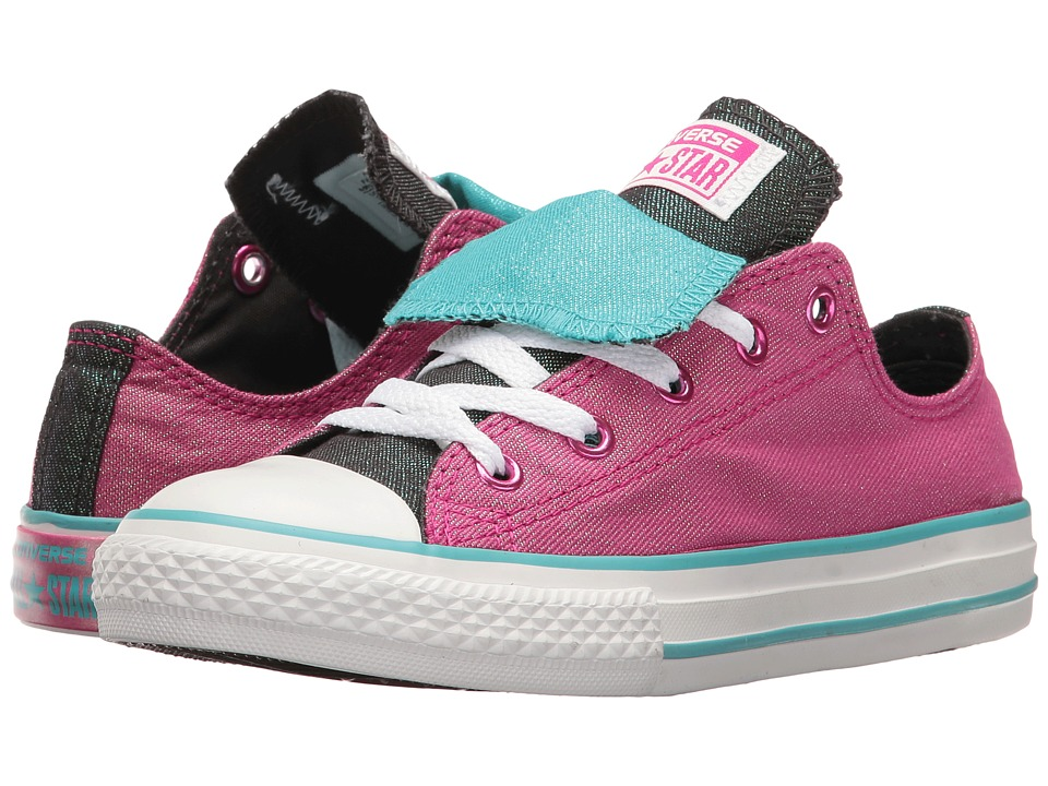 Converse Kids Chuck Taylor All Star Double Tongue Ox (Little Kid/Big Kid) (Magenta Glow/Fresh Cyan/White) Girl