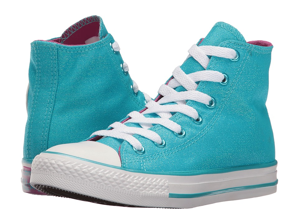 Converse Kids Chuck Taylor All Star Hi (Little Kid/Big Kid) (Fresh Cyan/Magenta Glow/White) Girl