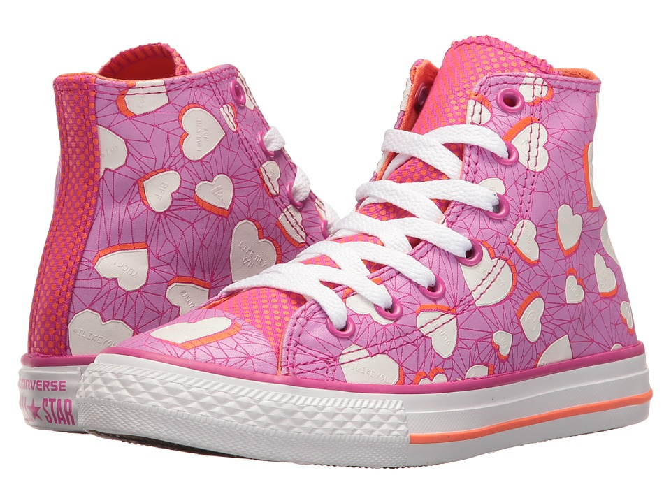 Converse Kids Chuck Taylor All Star Hi (Little Kid/Big Kid) (Magenta Glow/Wild Mango/White) Girl