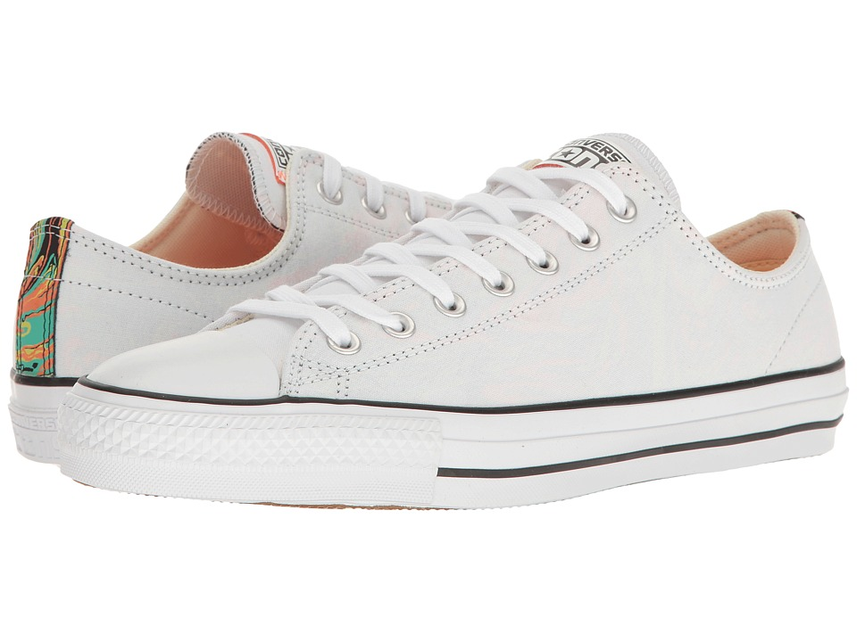 Converse Chuck Taylor(r) All Star(r) Pro Suede Backed Canvas Ox (White/Hyper Orange/Black) Men