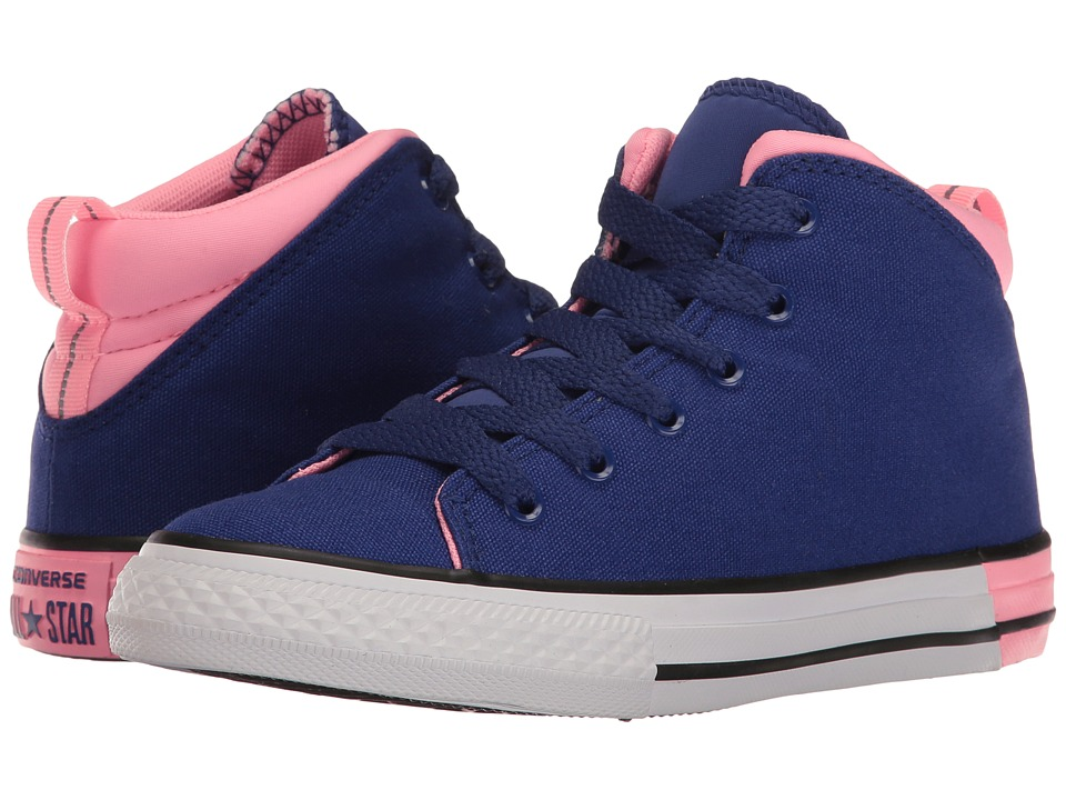 Converse Kids Chuck Taylor All Star Official Mid (Little Kid/Big Kid) (True Indigo/Pink Glow/White) Girl