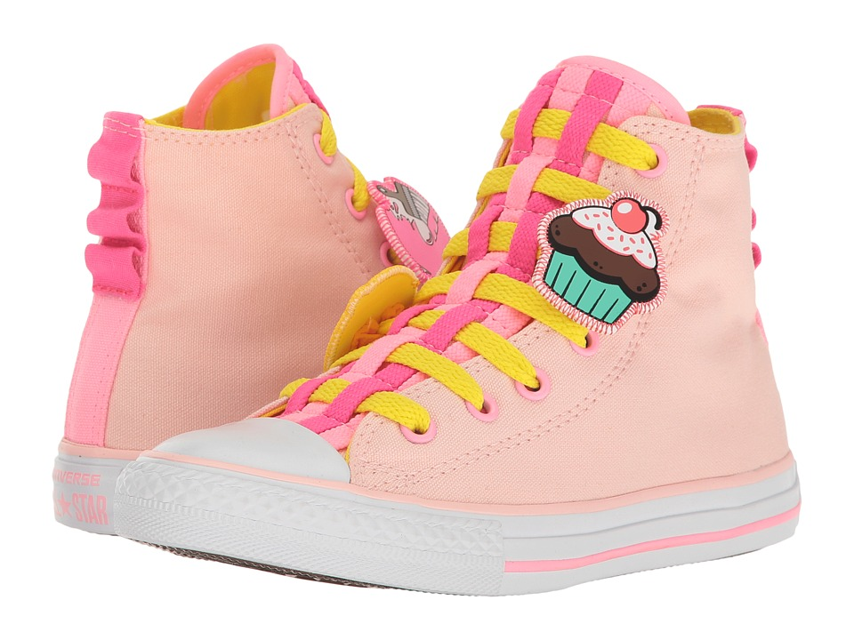 Converse Kids Chuck Taylor All Star Loopholes Emoji Hi (Little Kid/Big Kid) (Vaper Pink/Fresh Yellow/White) Girl