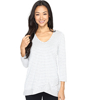 Mod-o-doc - Heather Yarn Dye Stripe 3/4 Sleeve Crossover Hem Tee