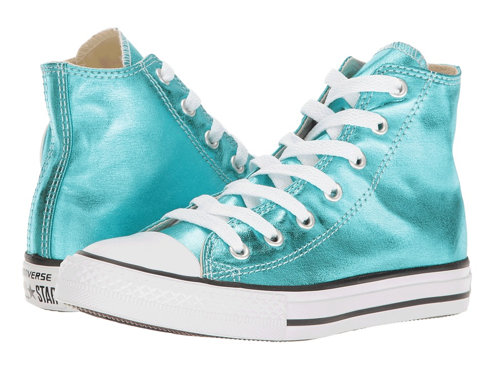 Converse Kids Chuck Taylor All Star Hi Metallic (Little Kid) (Fresh Cyan/Black/White) Girl