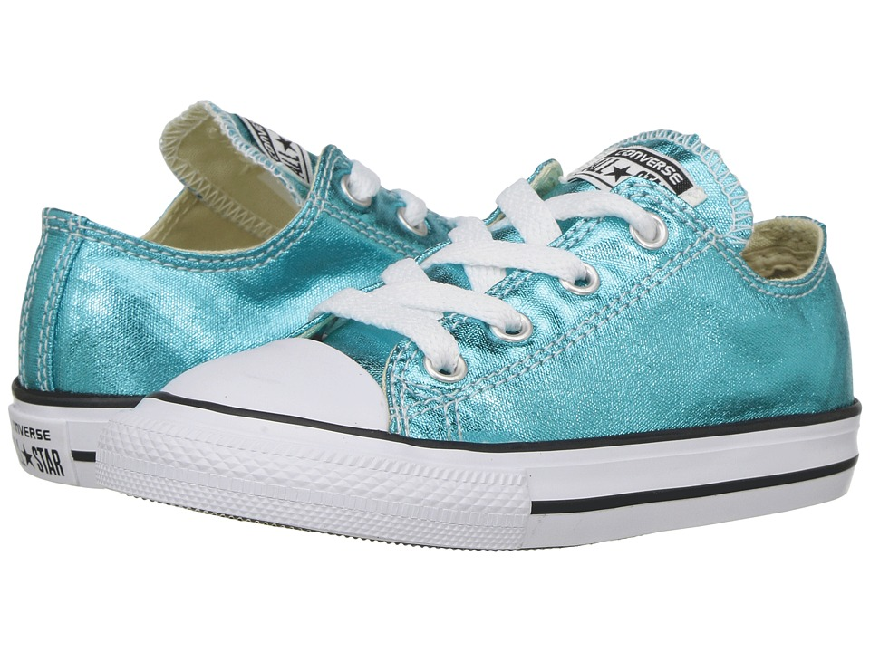 Converse Kids Chuck Taylor All Star Ox Metallic (Infant/Toddler) (Fresh Cyan/Black/White) Girl