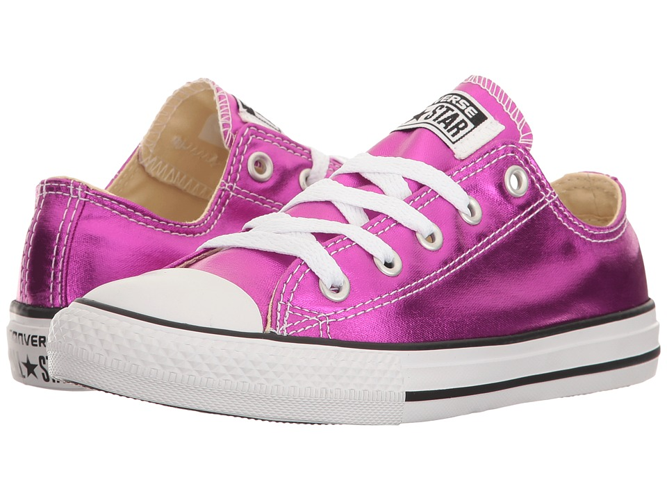 Converse Kids Chuck Taylor All Star Ox Metallic (Little Kid) (Magenta Glow/Black/White) Girl