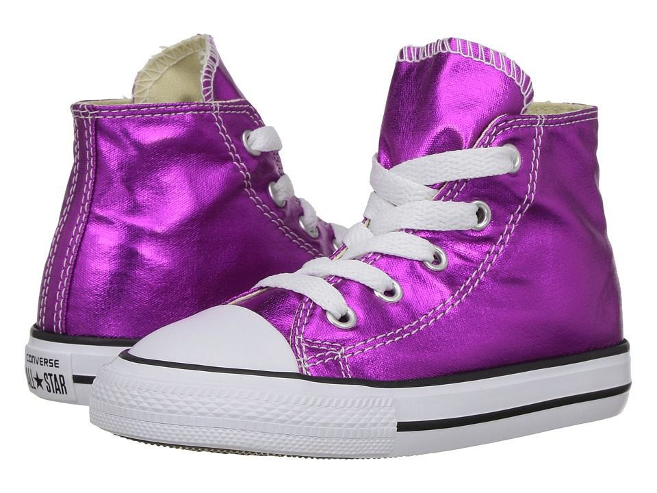 Converse Kids Chuck Taylor All Star Hi Metallic (Infant/Toddler) (Magenta Glow/Black/White) Girl