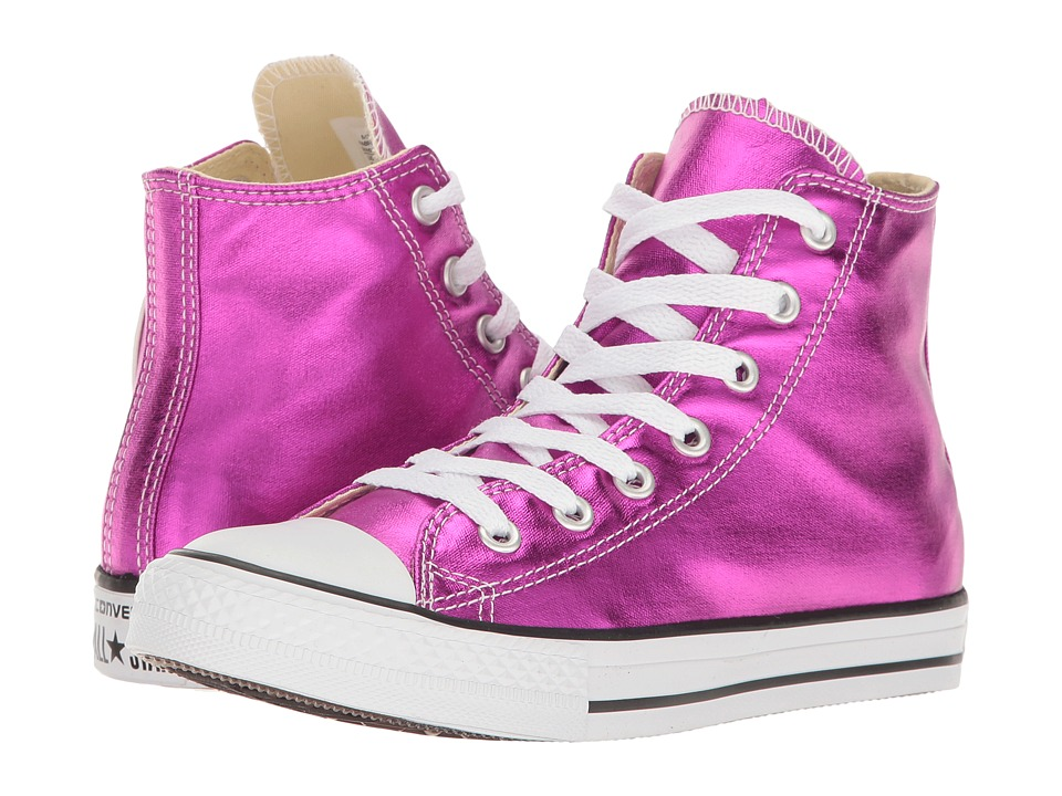 Converse Kids Chuck Taylor All Star Hi Metallic (Little Kid) (Magenta Glow/Black/White) Girl