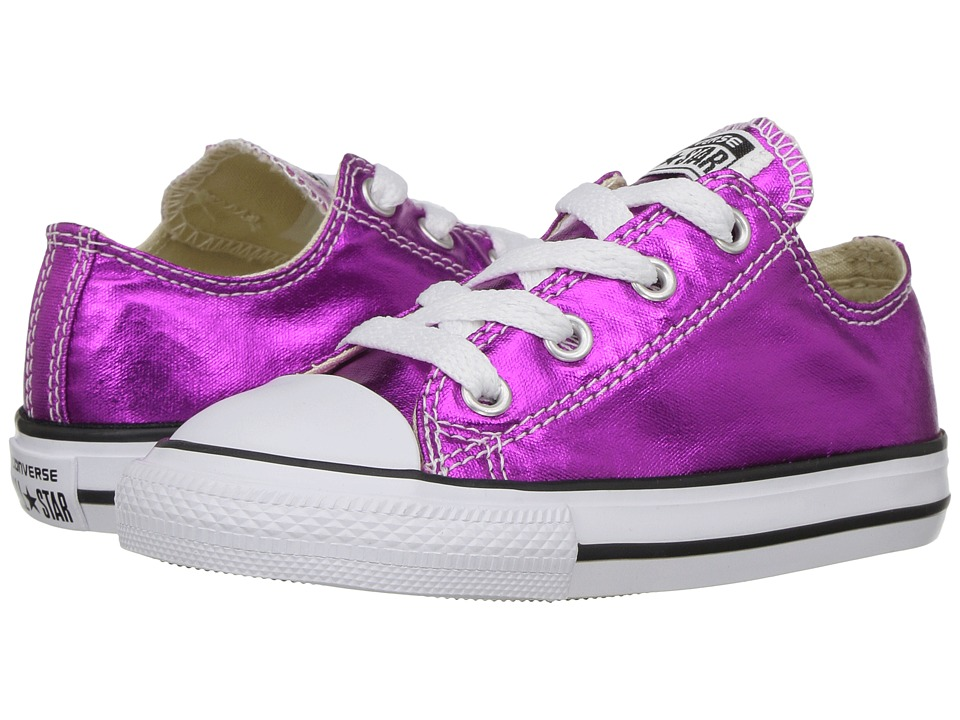 Converse Kids Chuck Taylor All Star Ox Metallic (Infant/Toddler) (Magenta Glow/Black/White) Girl