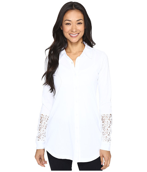 Mod-o-doc Classic Jersey Long Sleeve Shirt w/ Lace Insets - White