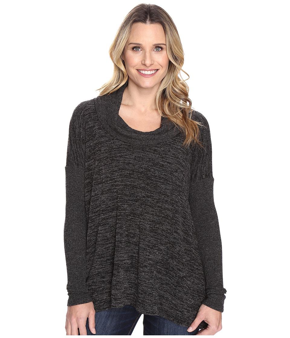 Mod-o-doc Heather Sweater w/ Rib Long Sleeve Cowl Neck Pullover (Black Heather) Women