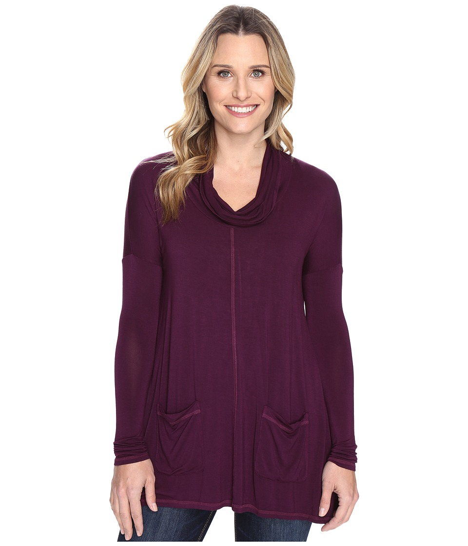Mod-o-doc Rayon Spandex Jersey Pullover Cowl Funnel Tunic (Spiced Plum) Women