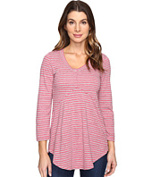 Mod-o-doc - Brushed Slub Stripe 3/4 Sleeve V-Neck Tunic