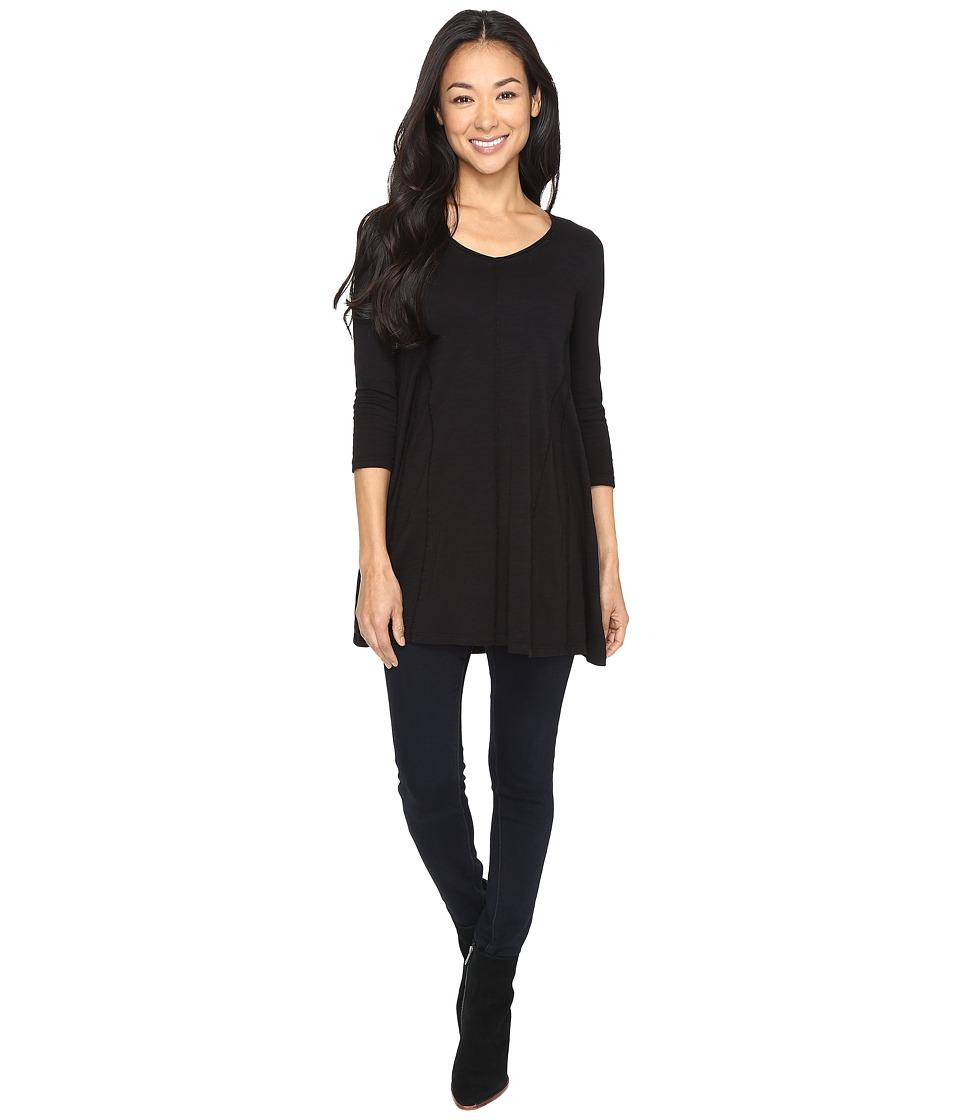 Mod-o-doc - Slub Jersey Gored Inset V-Neck Tunic (Black) Womens Clothing
