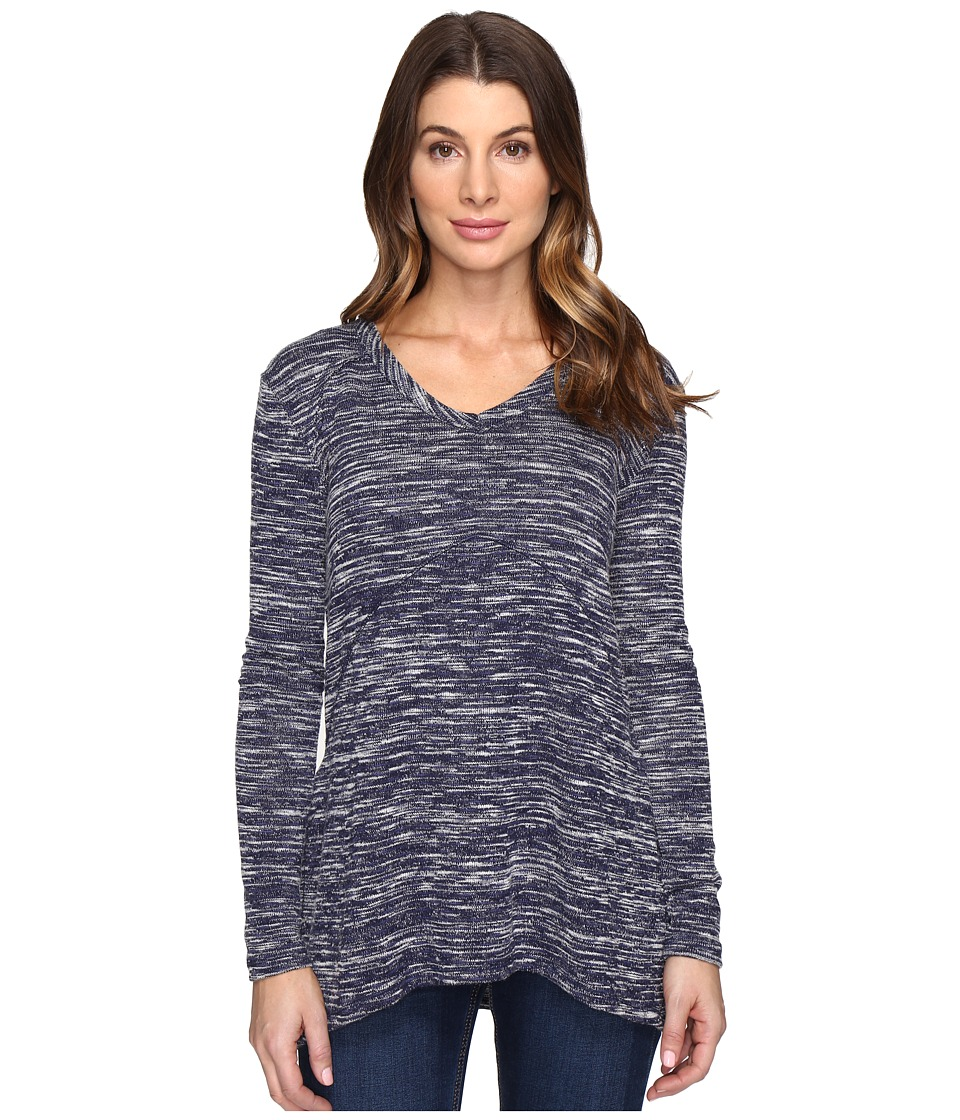 Mod-o-doc Space Dyed Slub Sweater Seamed V-Neck Pullover (True Navy) Women