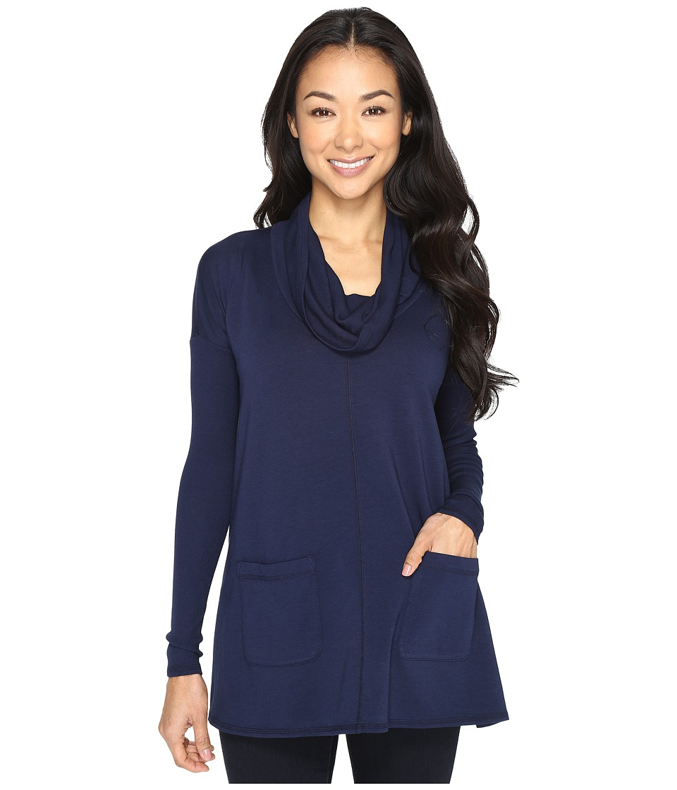 Mod-o-doc Cotton Modal Spandex French Terry Long Sleeve Cowl Neck Pullover (True Navy) Women