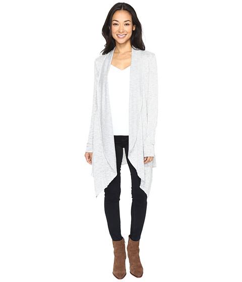 Mod-o-doc Breezy Slub Sweater Draped Princess Seam Cardigan - Light Grey