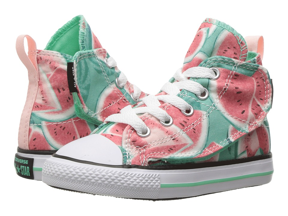 Converse Kids Chuck Taylor All Star Simple Step Hi (Infant/Toddler) (Vapor Pink/Green Glow/White) Girl