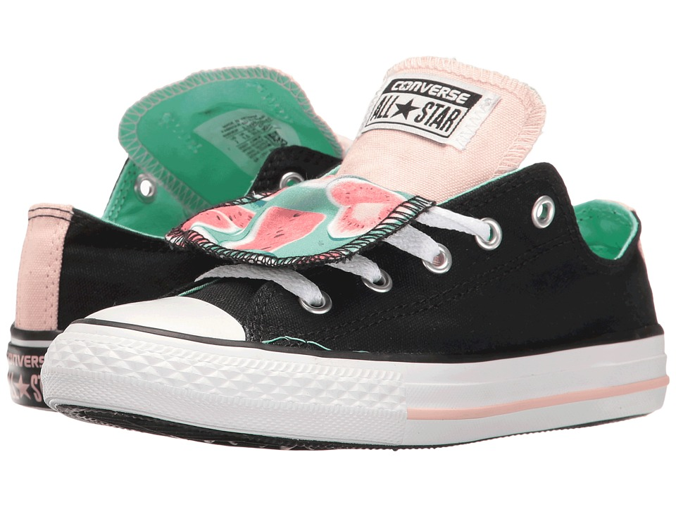 Converse Kids Chuck Taylor All Star Double Tongue Ox (Little Kid/Big Kid) (Black/Vapor Pink/White) Girl