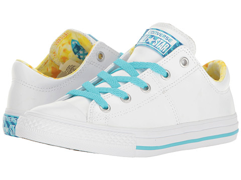 Converse Kids Chuck Taylor All Star Madison Ox (Little Kid/Big Kid) - White/Lemon Haze/Fresh Cyan