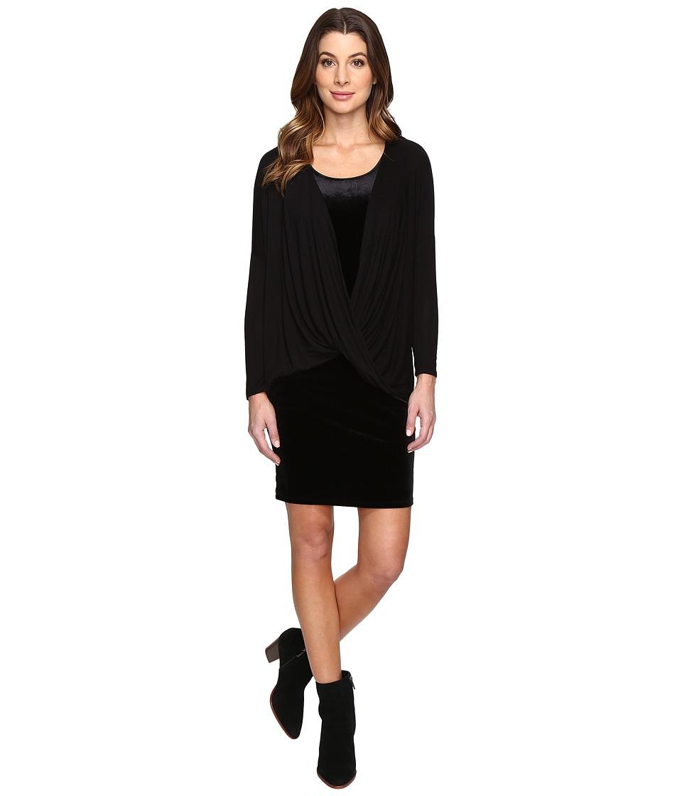 Mod-o-doc Stretch Velvet Double Layer Twist Front Dress (Black) Women