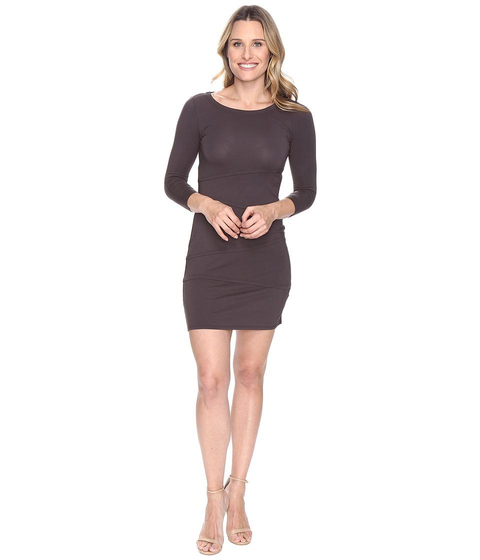 Mod-o-doc Cotton Modal Spandex Jersey 3/4 Sleeve Asymmetrical Tiered Dress (Dark Nickel) Women