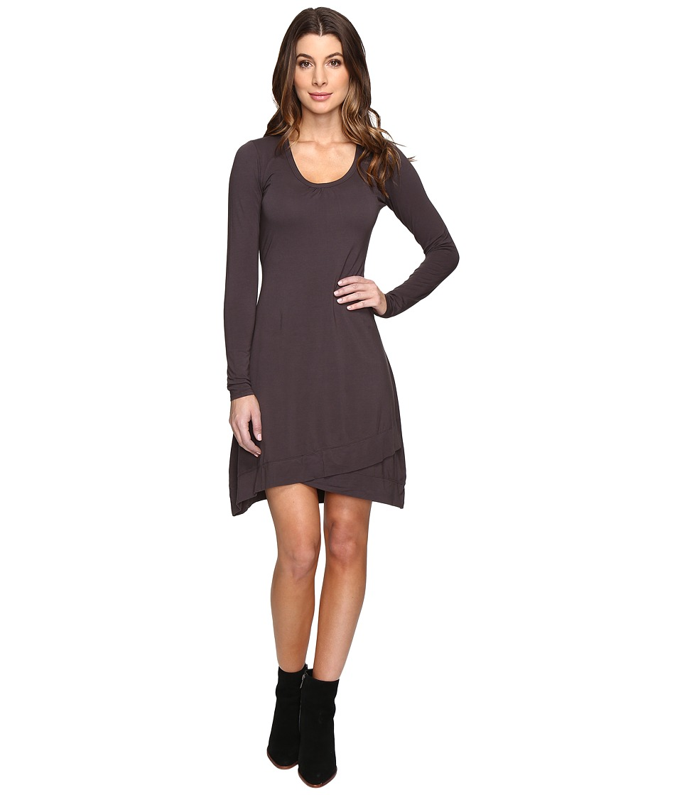 Mod-o-doc Cotton Modal Spandex Jersey Crossover Hem Dress (Dark Nickel) Women