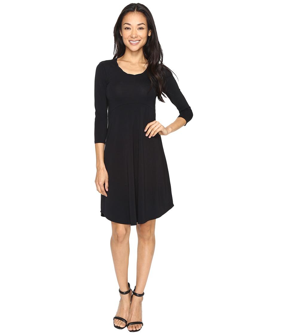 Mod-o-doc Cotton Modal Spandex Jersey Crescent Empire Seam Dress (Black) Women